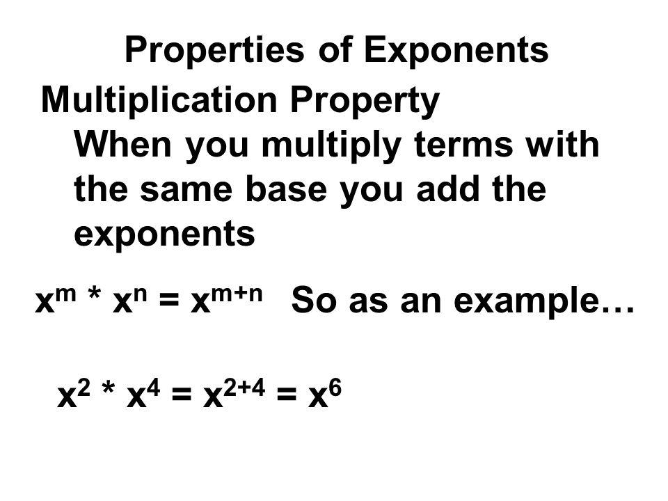 Homework Answers 47) (6a 4 ) 2 * ( 1 / 4 a 2 ) 2 = 6 2 a 8 *(1/4) 2 a 4 = 36a 8 *(1/16)a 4 = (36/16)a 12 14) 4 -2 = 4 -2 /1= 1/4 2 24) 8 -7 * 8 7 = (1/8 7 ) * 8 7 = 8 7 /8 7 = 1