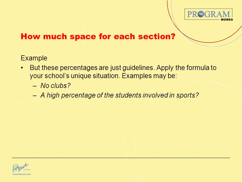 How much space for each section. Example But these percentages are just guidelines.