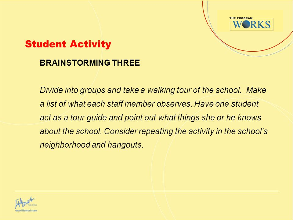 Student Activity BRAINSTORMING THREE Divide into groups and take a walking tour of the school.