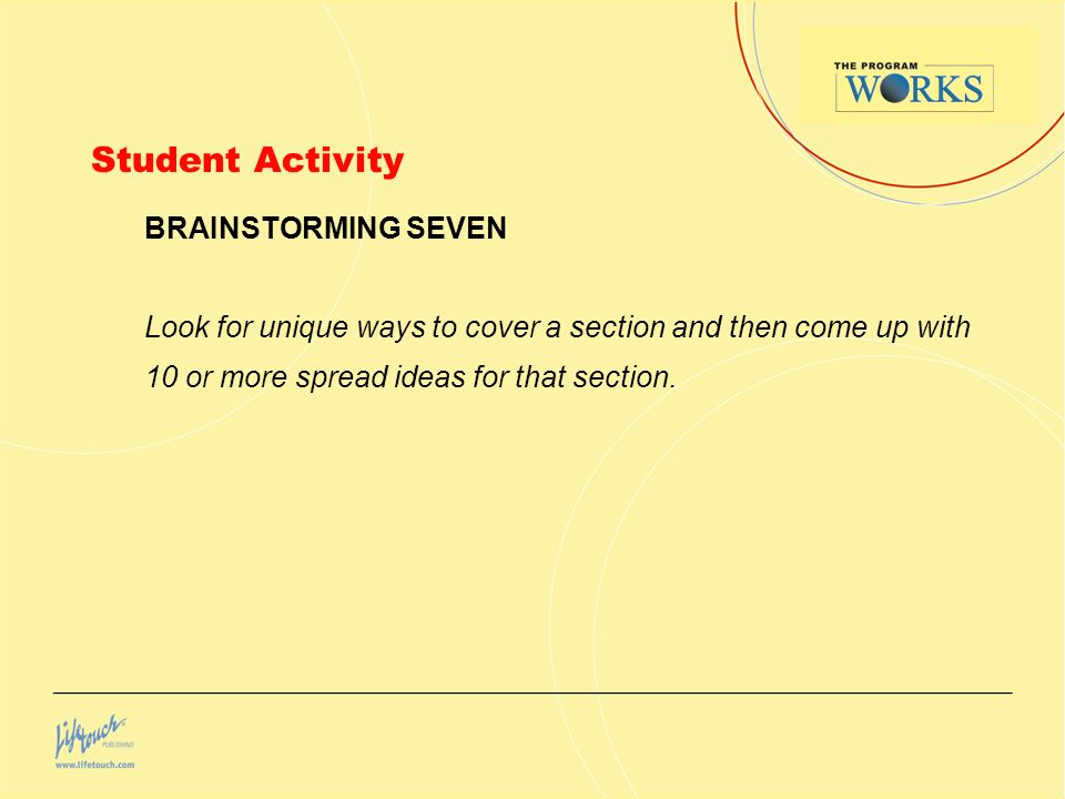 Student Activity BRAINSTORMING SEVEN Look for unique ways to cover a section and then come up with 10 or more spread ideas for that section.
