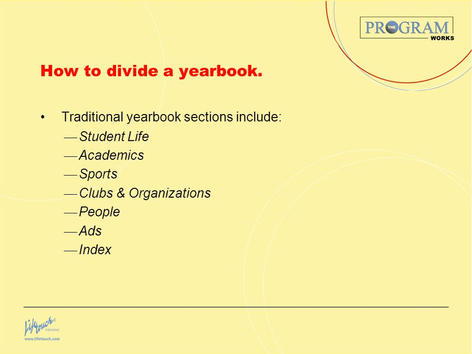 How to divide a yearbook.