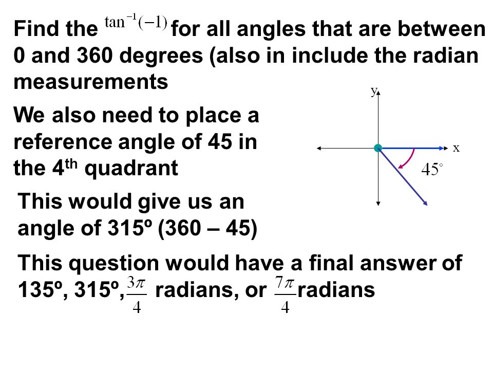 x y Find the for all angles that are between 0 and 360 degrees (also in include the radian measurements We also need to place a reference angle of 45