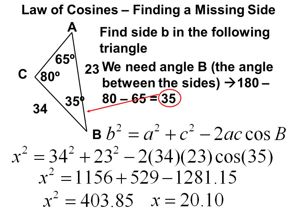 Law of Cosines – Finding a Missing Side A C B 80º 34 23 Find side b in the following triangle 65º We need angle B (the angle between the sides) 180 –