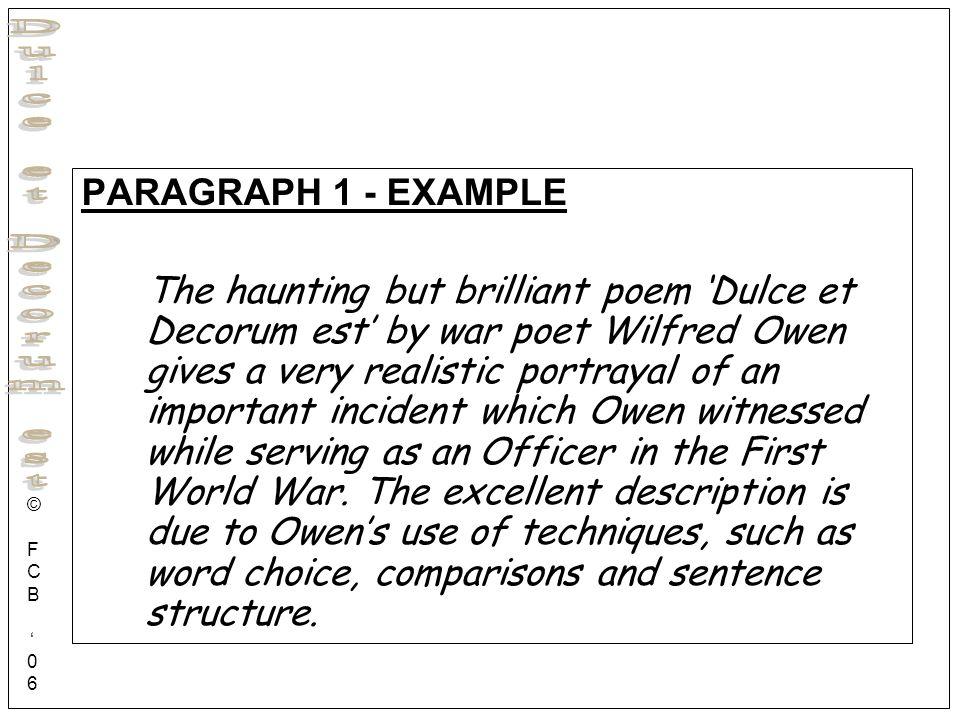 an analysis of wilfred owens dulce et decorum est