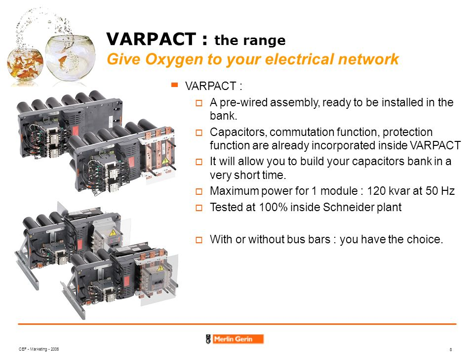CEF - Marketing - 2006 8 VARPACT : the range Give Oxygen to your electrical network VARPACT : A pre-wired assembly, ready to be installed in the bank.