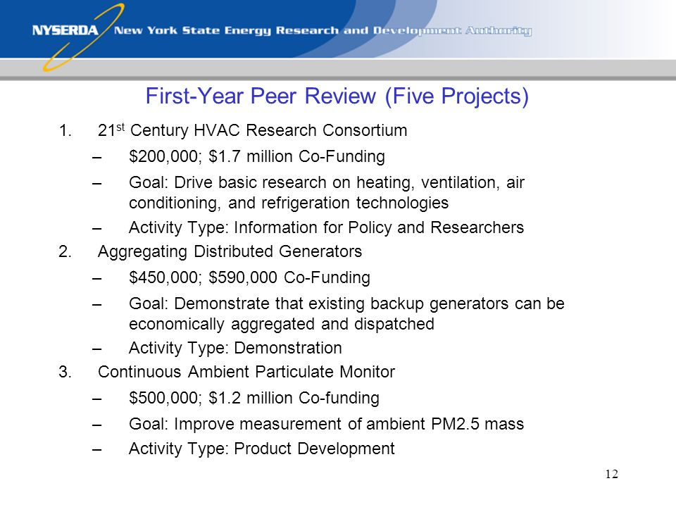 12 First-Year Peer Review (Five Projects) 1.21 st Century HVAC Research Consortium –$200,000; $1.7 million Co-Funding –Goal: Drive basic research on heating, ventilation, air conditioning, and refrigeration technologies –Activity Type: Information for Policy and Researchers 2.Aggregating Distributed Generators –$450,000; $590,000 Co-Funding –Goal: Demonstrate that existing backup generators can be economically aggregated and dispatched –Activity Type: Demonstration 3.Continuous Ambient Particulate Monitor –$500,000; $1.2 million Co-funding –Goal: Improve measurement of ambient PM2.5 mass –Activity Type: Product Development