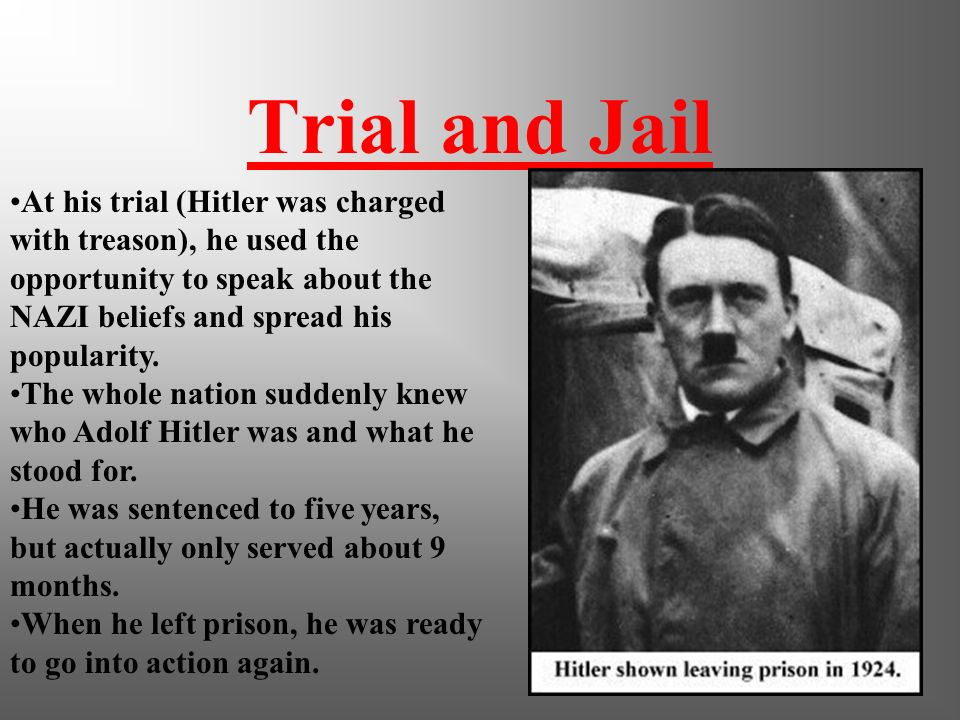 Revolution October 30, 1923 Hitler held a rally in Munich beer hall and declared revolution. He led 2000 men in a take over of the Bavarian Government
