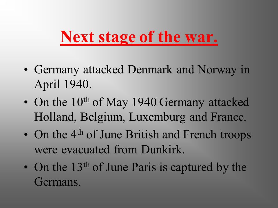 Start of W.W.II Hitler invaded Poland on the1st of September 1939 starting World War 2. France and England declared war on Germany but did nothing to