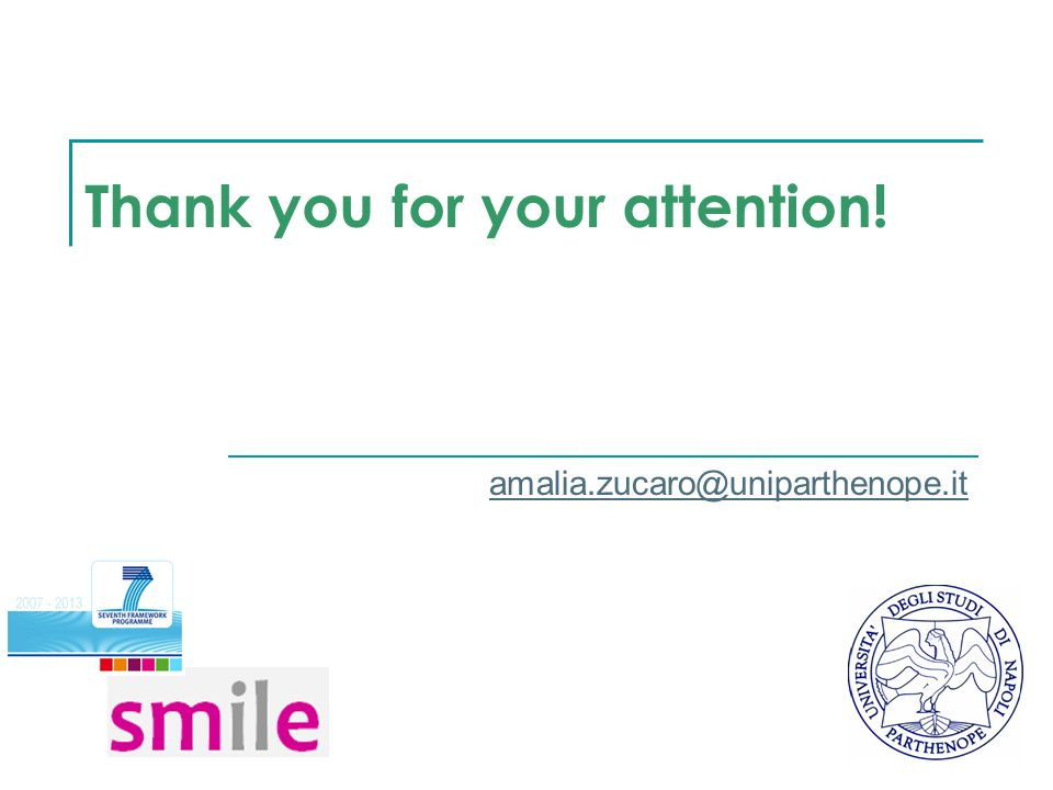 Thank you for your attention! amalia.zucaro@uniparthenope.it