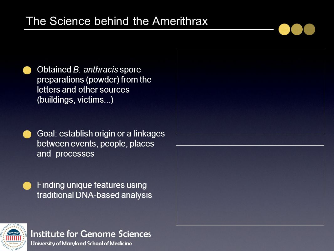 The Science behind the Amerithrax Obtained B. anthracis spore preparations (powder) from the letters and other sources (buildings, victims...) Goal: e