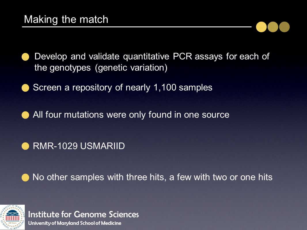 Develop and validate quantitative PCR assays for each of the genotypes (genetic variation) Screen a repository of nearly 1,100 samples All four mutati