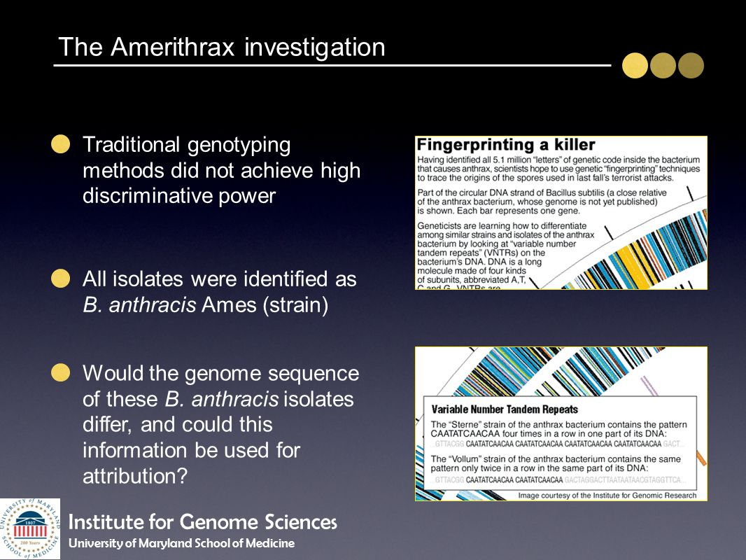 The Amerithrax investigation Traditional genotyping methods did not achieve high discriminative power Would the genome sequence of these B. anthracis