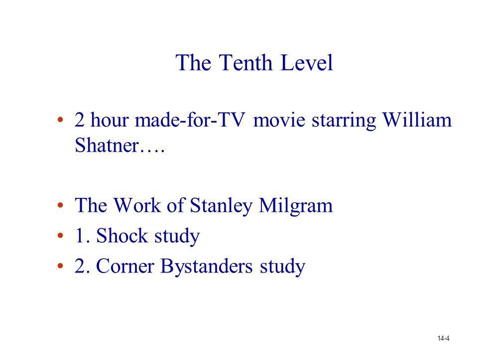 The Tenth Level 2 hour made-for-TV movie starring William Shatner…. The Work of Stanley Milgram 1. Shock study 2. Corner Bystanders study 14-4