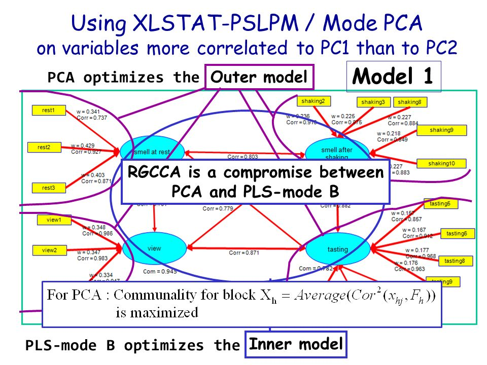 Model 1 : PCA of each block All loadings are significant (except one).
