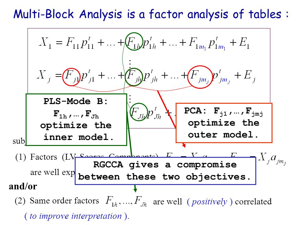 Multi-Block Analysis is a factor analysis of tables : (1)Factors (LV, Scores, Components) are well explaining their own block. subject to constraints