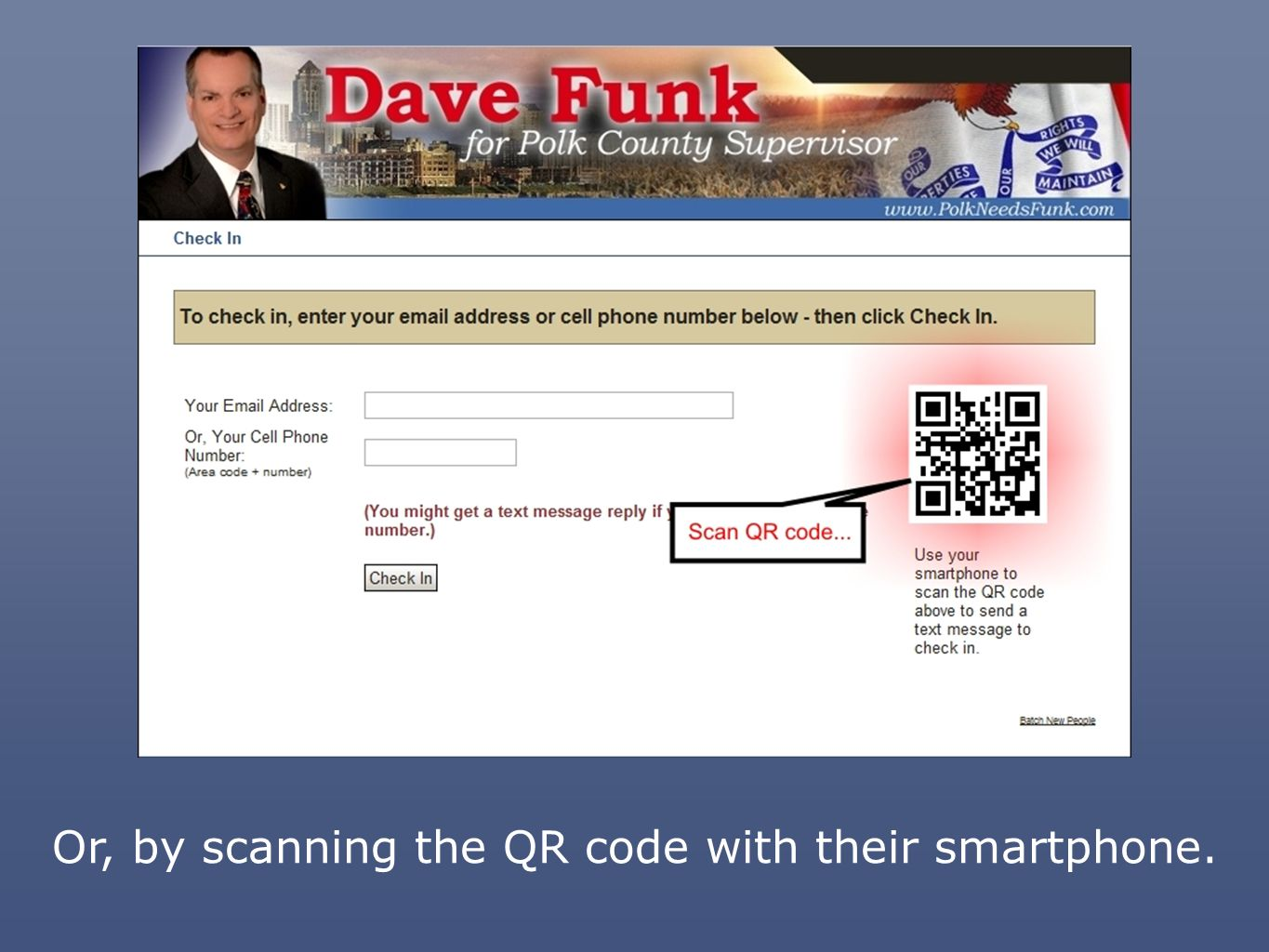 Or, by scanning the QR code with their smartphone.