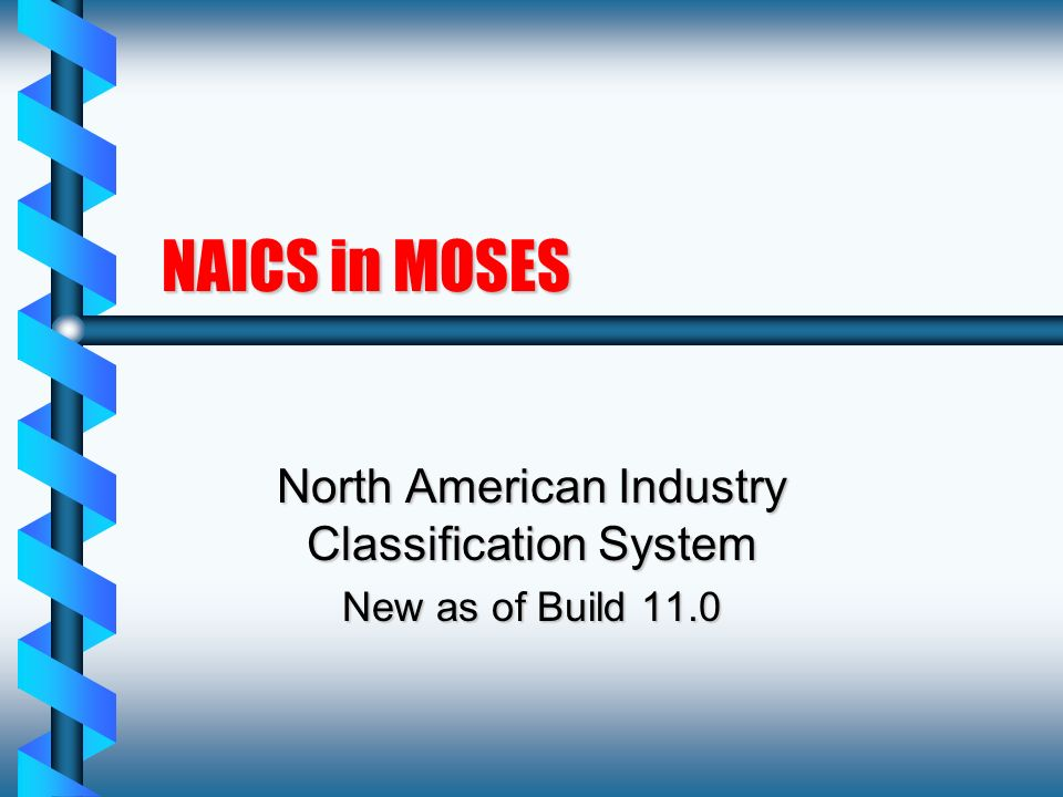 NAICS in MOSES North American Industry Classification System New as of Build 11.0
