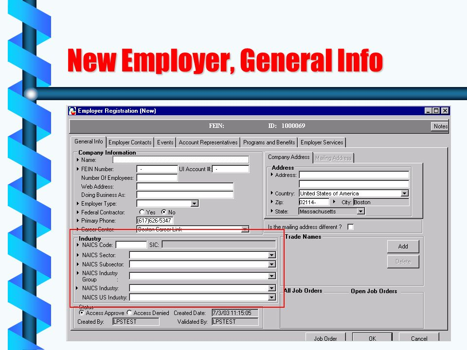 New Employer, General Info