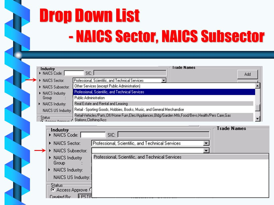 Drop Down List - NAICS Sector, NAICS Subsector