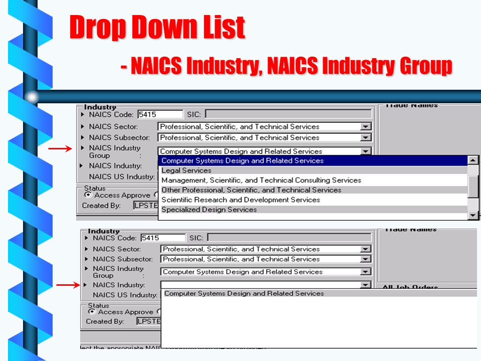 Drop Down List - NAICS Industry, NAICS Industry Group
