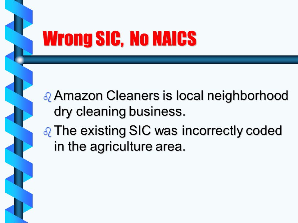 Wrong SIC, No NAICS b Amazon Cleaners is local neighborhood dry cleaning business.
