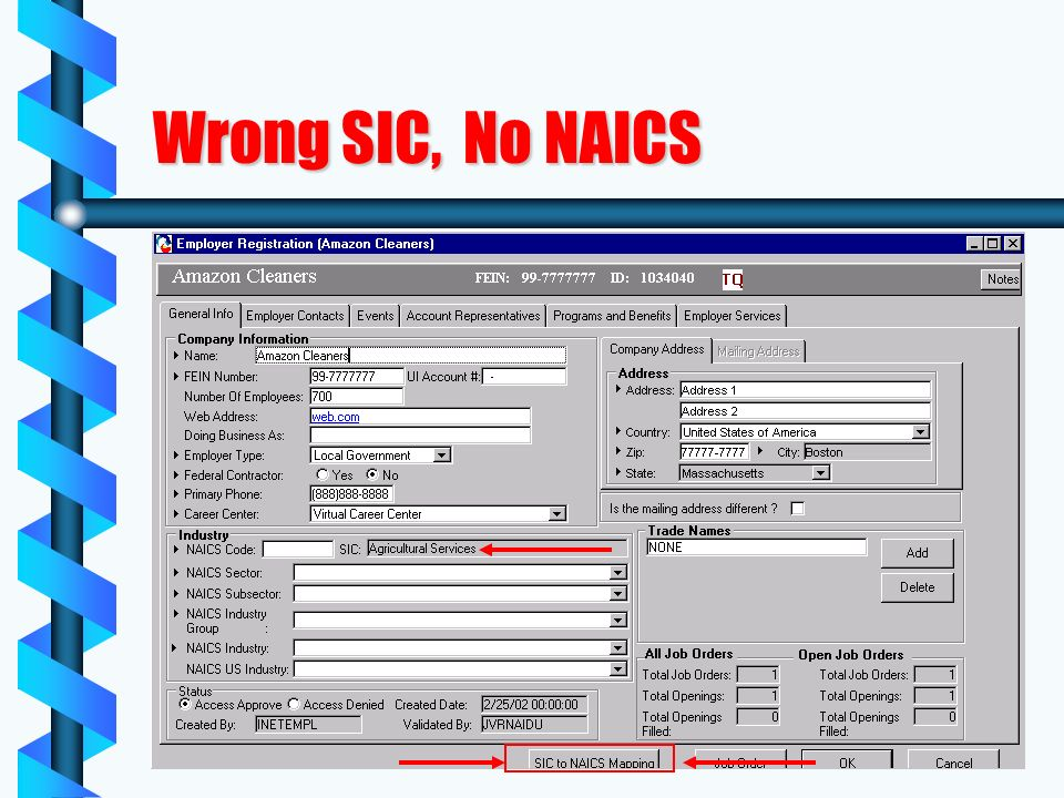 Wrong SIC, No NAICS