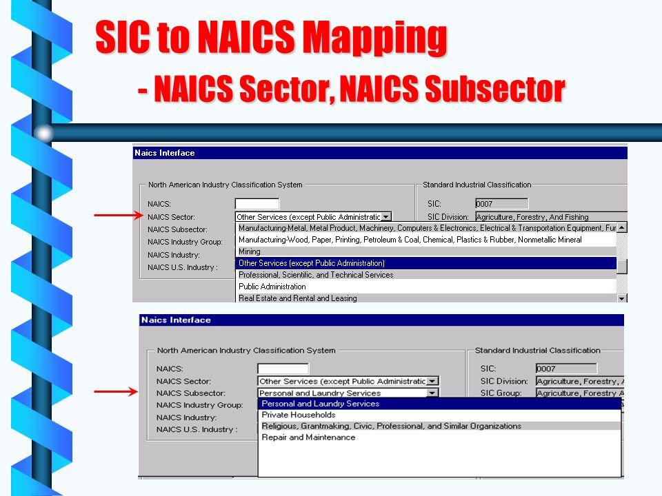 SIC to NAICS Mapping - NAICS Sector, NAICS Subsector