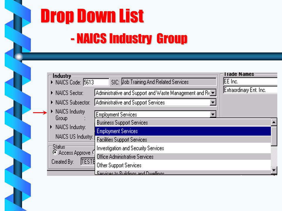 Drop Down List - NAICS Industry Group