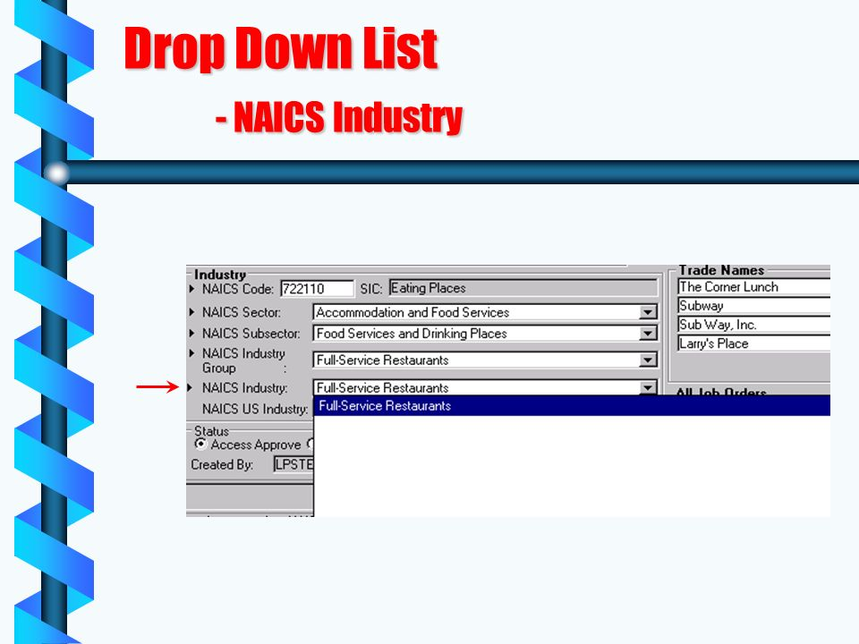 Drop Down List - NAICS Industry