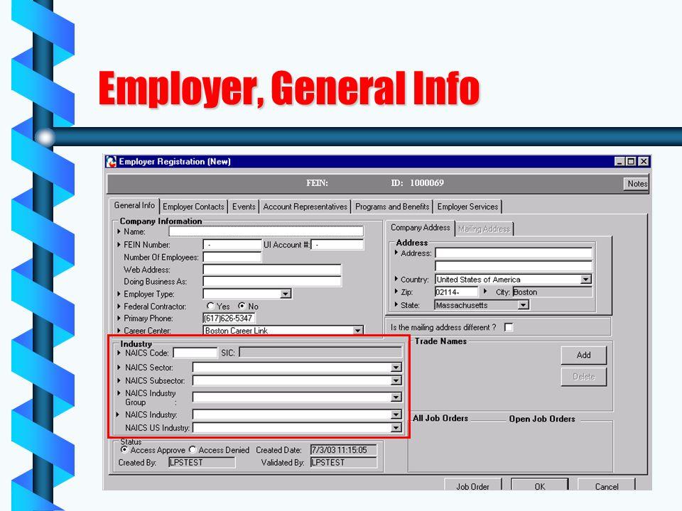 Employer, General Info