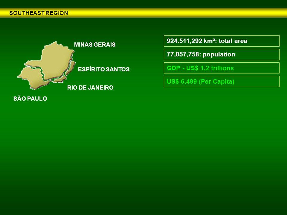 SOUTHEAST REGION 77,857,758: population GDP - US$ 1,2 trillions 924.511,292 km²: total area US$ 6,499 (Per Capita) RIO DE JANEIRO ESPÍRITO SANTOS MINAS GERAIS SÃO PAULO