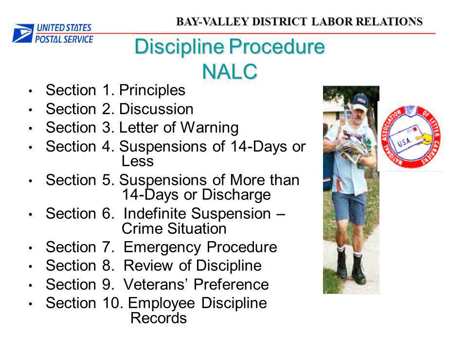 BAY-VALLEY DISTRICT LABOR RELATIONS Discipline Procedure NALC Section 1. Principles Section 2. Discussion Section 3. Letter of Warning Section 4. Susp