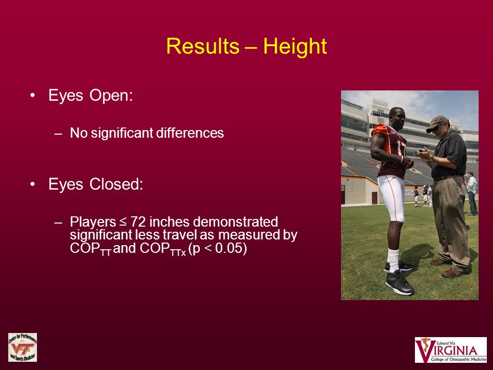 Eyes Open: –No significant differences Eyes Closed: –Players 72 inches demonstrated significant less travel as measured by COP TT and COP TTx (p < 0.0