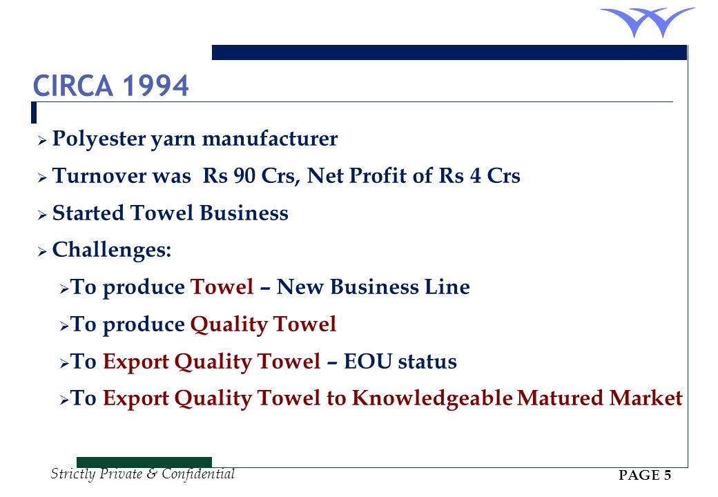 Strictly Private & Confidential CIRCA 1994 Polyester yarn manufacturer Turnover was Rs 90 Crs, Net Profit of Rs 4 Crs Started Towel Business Challenges: To produce Towel – New Business Line To produce Quality Towel To Export Quality Towel – EOU status To Export Quality Towel to Knowledgeable Matured Market PAGE 5
