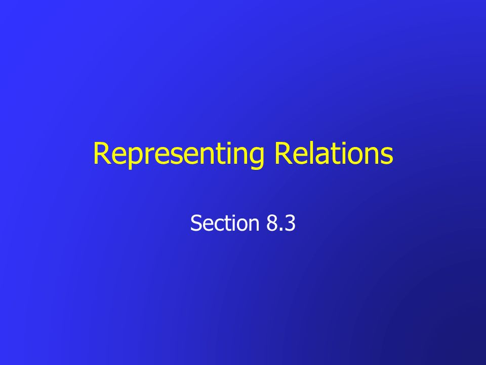 Representing Relations Section 8.3