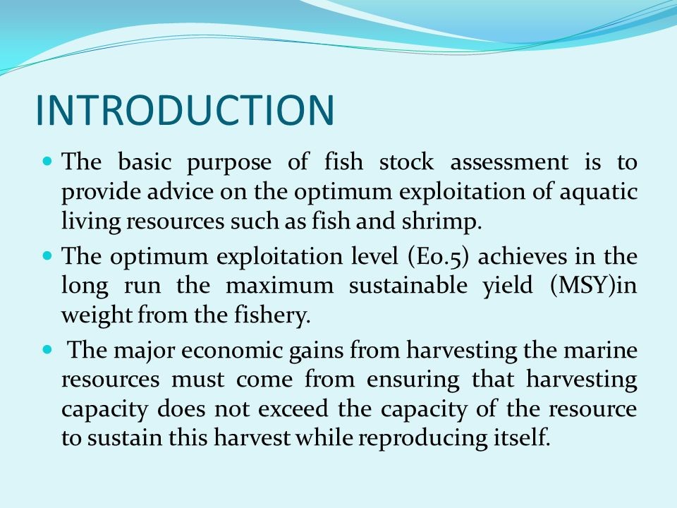 INTRODUCTION The basic purpose of fish stock assessment is to provide advice on the optimum exploitation of aquatic living resources such as fish and