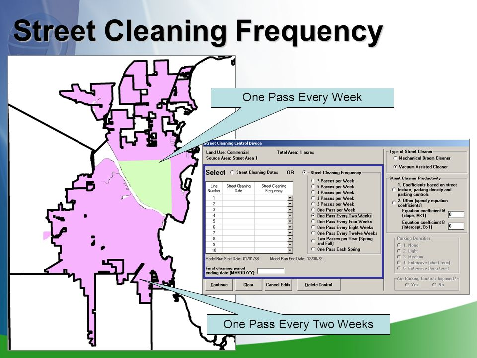 Street Cleaning Frequency One Pass Every Two Weeks One Pass Every Week