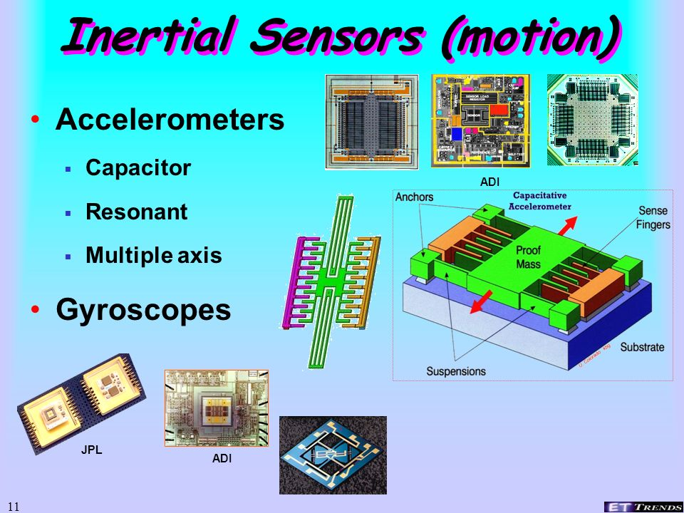 10 Sensors – the #1 Class Capacitance Piezoresistive Resonant beam Electron tunneling Photonic Chemical Biological/biochemical Popular for Accelerometers, mics, more Popular for Accelerometers, mics, more Many principles Many principles