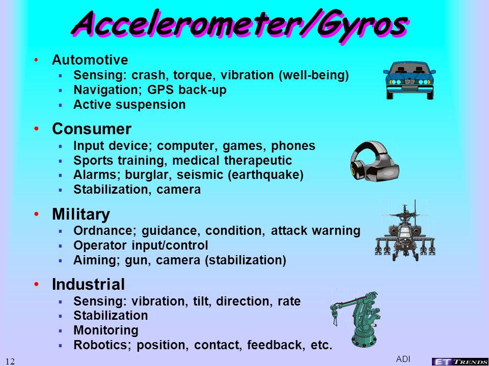 11 Inertial Sensors (motion) Accelerometers Capacitor Resonant Multiple axis Gyroscopes ADI JPL