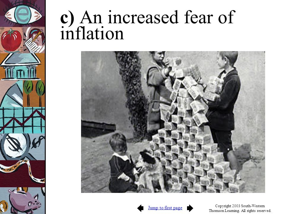 Jump to first page Copyright 2003 South-Western Thomson Learning. All rights reserved. c) An increased fear of inflation