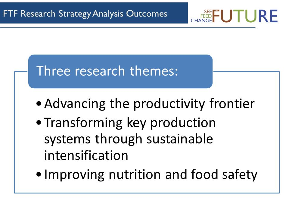 FTF Research Strategy Analysis Outcomes Advancing the productivity frontier Transforming key production systems through sustainable intensification Improving nutrition and food safety Three research themes: