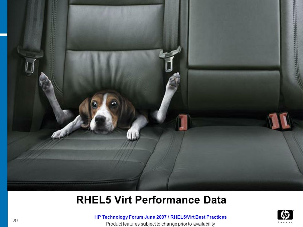 HP Technology Forum June 2007 / RHEL5/Virt Best Practices Product features subject to change prior to availability 29 RHEL5 Virt Performance Data