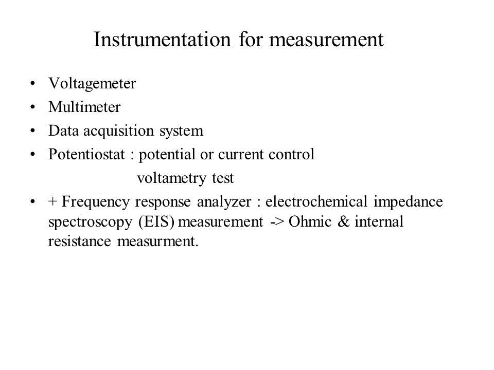 Instrumentation for measurement Voltagemeter Multimeter Data acquisition system Potentiostat : potential or current control voltametry test + Frequenc