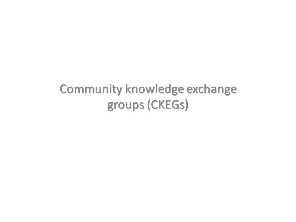Community knowledge exchange groups (CKEGs Community knowledge exchange groups (CKEGs)