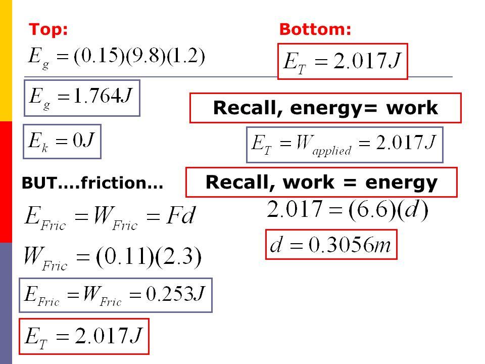 Top: BUT….friction… Recall, work = energy Bottom: Recall, energy= work
