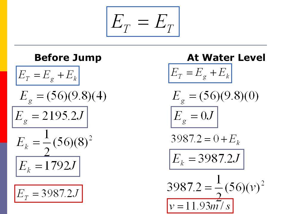 Before JumpAt Water Level