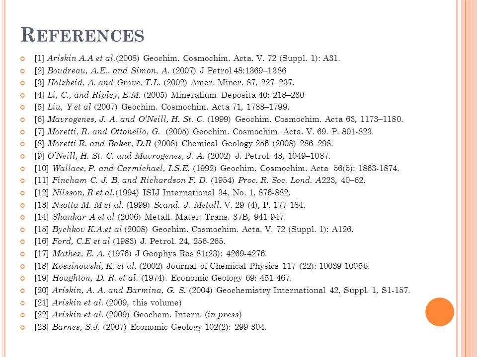 R EFERENCES [1] Ariskin A.A et al. (2008) Geochim.
