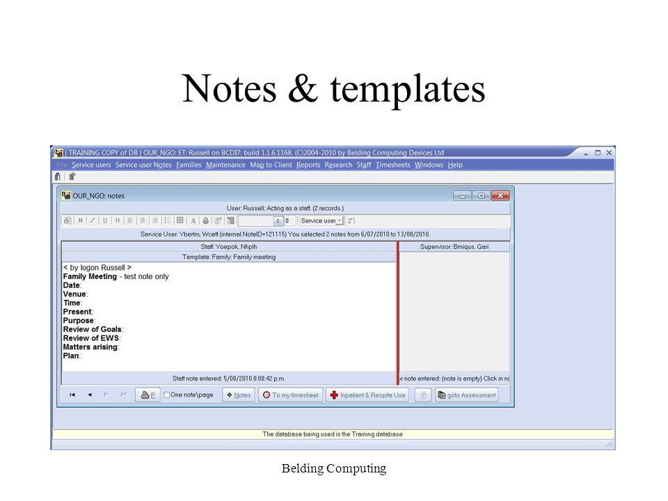 Notes & templates Belding Computing