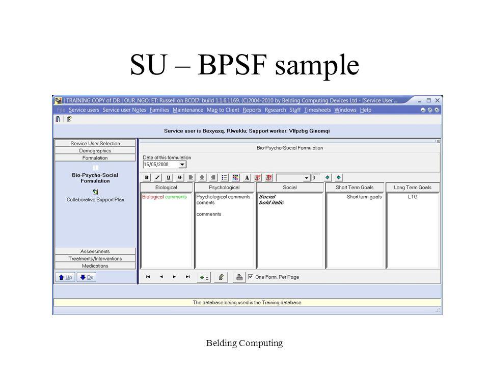 SU – BPSF sample Belding Computing