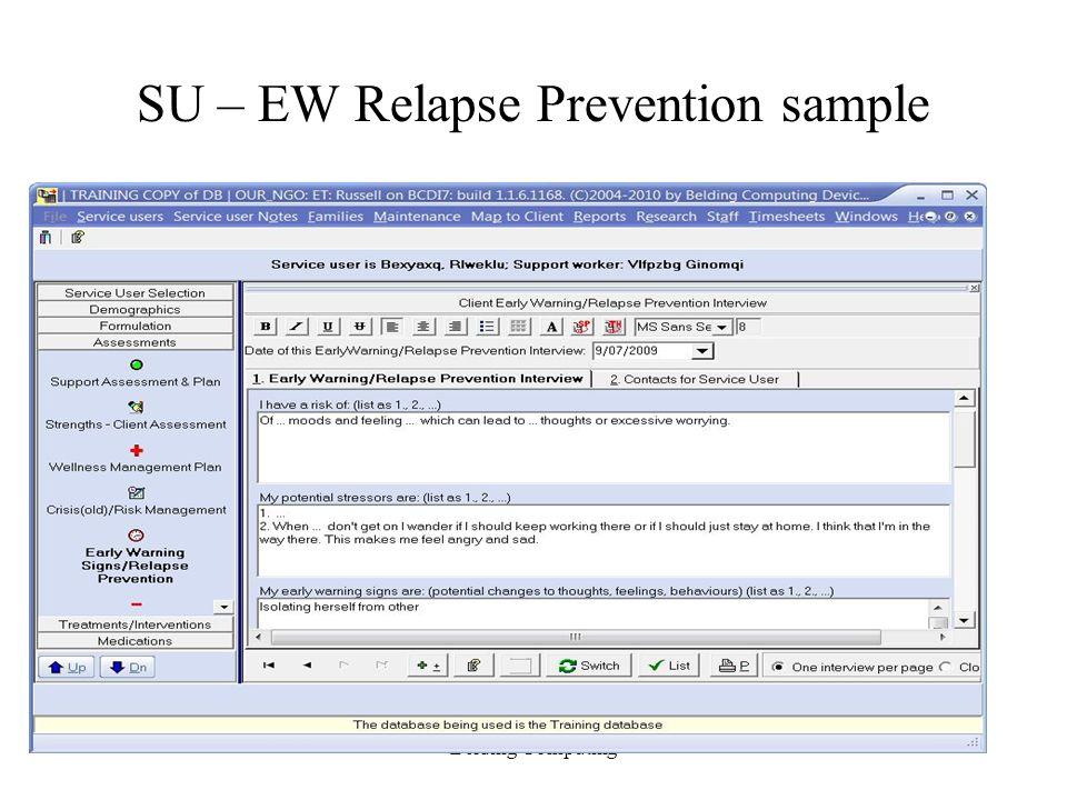 SU – EW Relapse Prevention sample Belding Computing